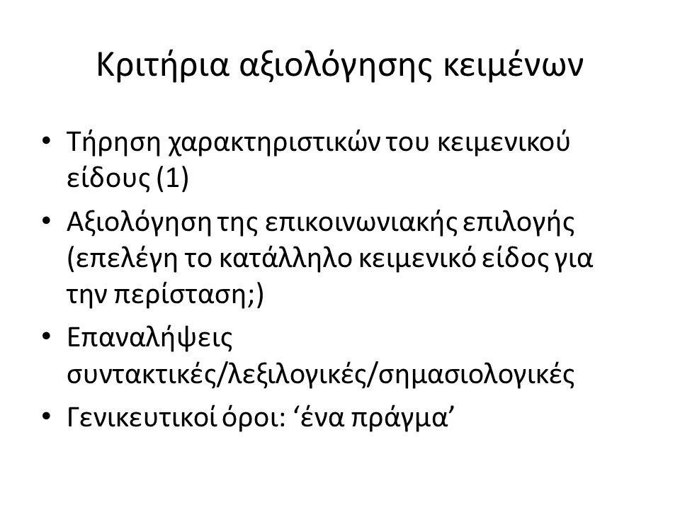 Κριτήρια αξιολόγησης κειμένων Τήρηση χαρακτηριστικών του κειμενικού είδους (1) Αξιολόγηση της επικοινωνιακής επιλογής (επελέγη το κατάλληλο κειμενικό
