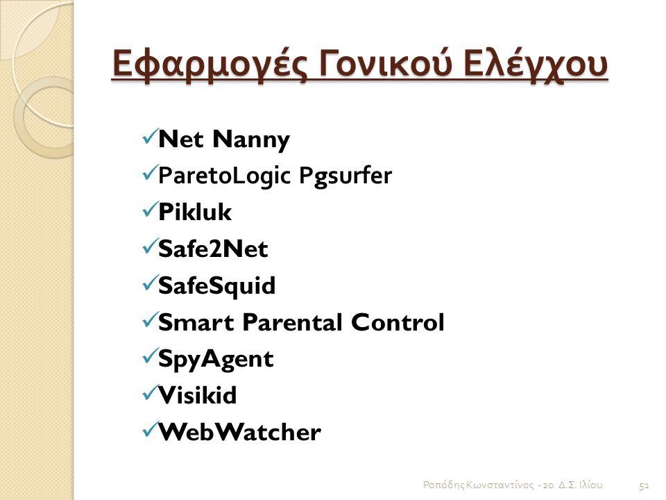 Εφαρμογές Γονικού Ελέγχου Net Nanny ParetoLogic Pgsurfer Pikluk Safe2Net SafeSquid Smart Parental Control SpyAgent Visikid WebWatcher Ροπόδης Κωνσταντ