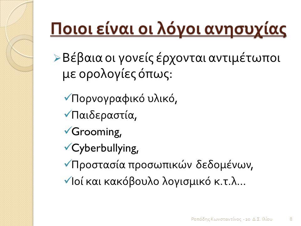 Ποιοι είναι οι λόγοι ανησυχίας  Βέβαια οι γονείς έρχονται αντιμέτωποι με ορολογίες όπως : Πορνογραφικό υλικό, Παιδεραστία, Grooming, Cyberbullying, Π