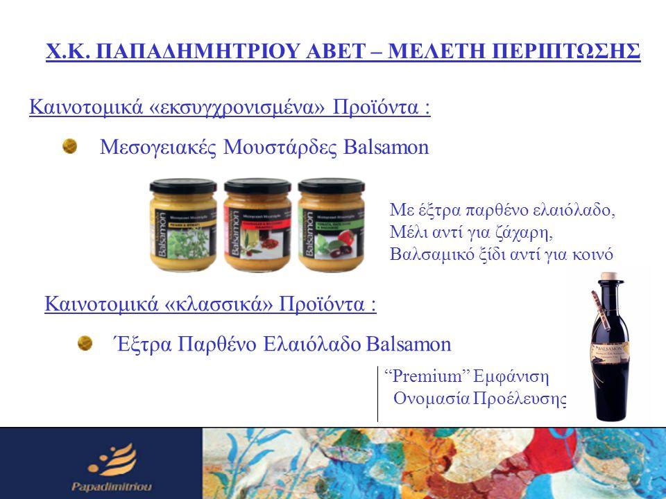 Καινοτομικά «εκσυγχρονισμένα» Προϊόντα : Μεσογειακές Μουστάρδες Balsamon Χ.Κ. ΠΑΠΑΔΗΜΗΤΡΙΟΥ ΑΒΕΤ – ΜΕΛΕΤΗ ΠΕΡΙΠΤΩΣΗΣ Με έξτρα παρθένο ελαιόλαδο, Μέλι