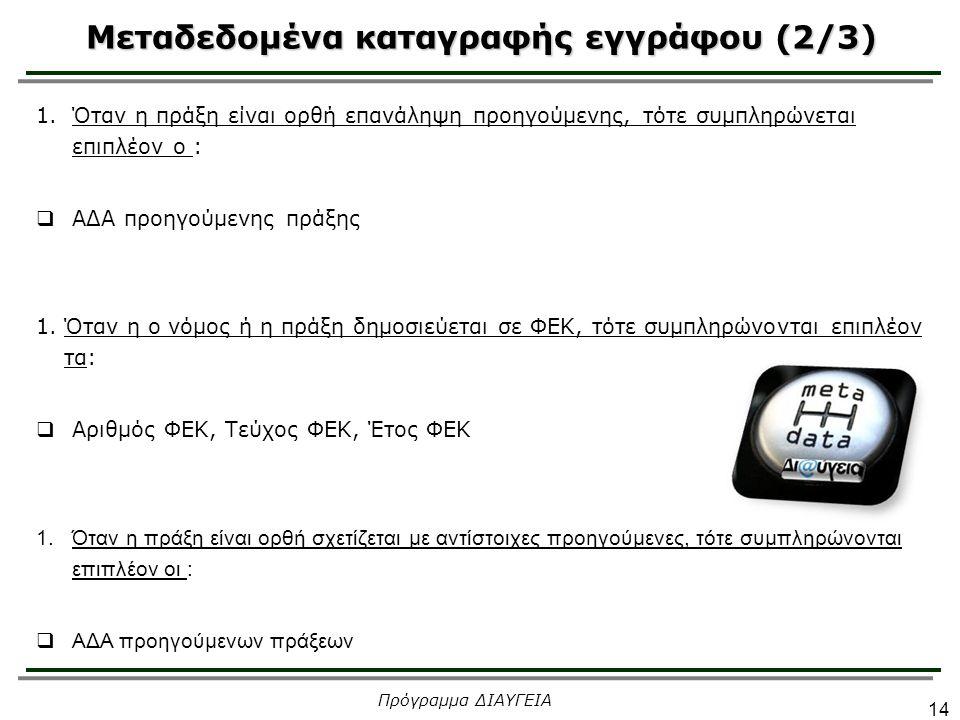 Μεταδεδομένα καταγραφής εγγράφου (2/3) 14 Πρόγραμμα ΔΙΑΥΓΕΙΑ 1.Όταν η πράξη είναι ορθή επανάληψη προηγούμενης, τότε συμπληρώνεται επιπλέον ο :  ΑΔΑ π