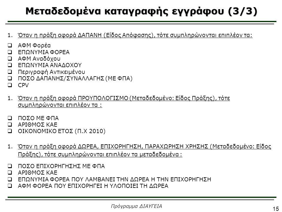 Μεταδεδομένα καταγραφής εγγράφου (3/3) 15 Πρόγραμμα ΔΙΑΥΓΕΙΑ 1.Όταν η πράξη αφορά ΔΑΠΑΝΗ (Είδος Απόφασης), τότε συμπληρώνονται επιπλέον τα:  ΑΦΜ Φορέ