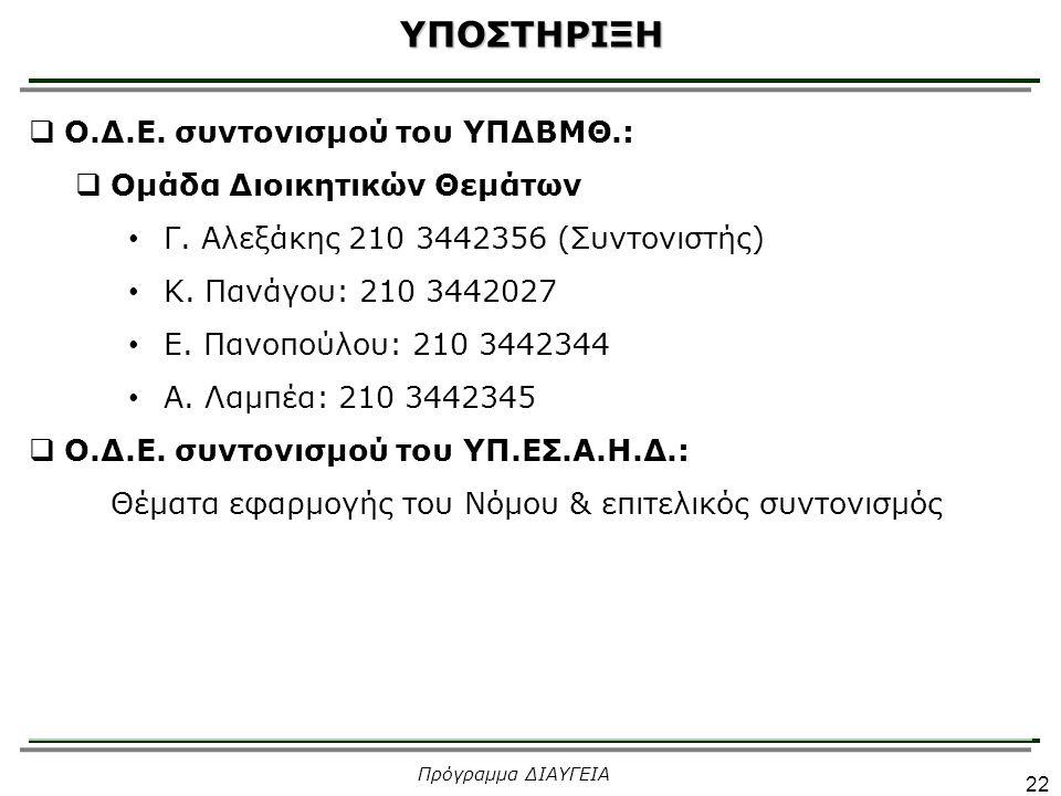  Ο.Δ.Ε. συντονισμού του ΥΠΔΒΜΘ.:  Ομάδα Διοικητικών Θεμάτων Γ. Αλεξάκης 210 3442356 (Συντονιστής) Κ. Πανάγου: 210 3442027 Ε. Πανοπούλου: 210 3442344