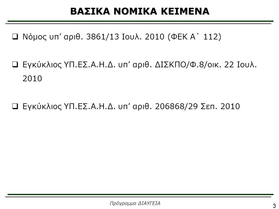 ΣΥΝΔΕΣΜΟΙ 1.Ενημερωτικός δικτυακός τόπος : diavgeia.gov.gr 1.Δικτυακός τόπος του προγράμματος ΔΙΑΥΓΕΙΑ του Εθνικού Τυπογραφείου: et.diavgeia.gov.gr 1.Δικτυακός τόπος του προγράμματος ΔΙΑΥΓΕΙΑ για το ΥΠ.ΕΣ.Α.Η.Δ.: sites.diavgeia.gov.gr/ypes 1.Help Desk: productive.ktpae.gr/diavgeia/ Πρόγραμμα ΔΙΑΥΓΕΙΑ 24