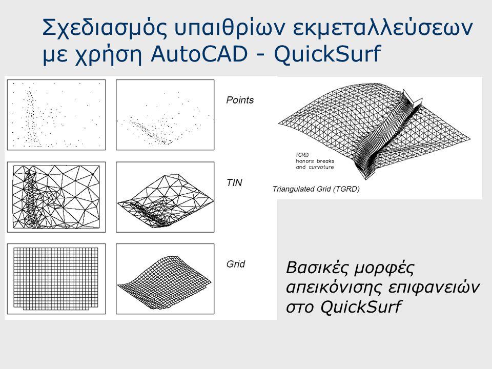 Σχεδιασμός υπαιθρίων εκμεταλλεύσεων με χρήση AutoCAD - QuickSurf Βασικές μορφές απεικόνισης επιφανειών στο QuickSurf