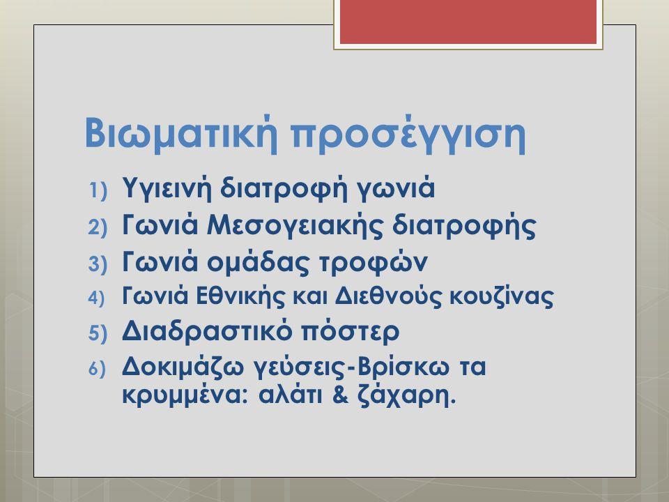 Βιωματική προσέγγιση 1) Υγιεινή διατροφή γωνιά 2) Γωνιά Μεσογειακής διατροφής 3) Γωνιά ομάδας τροφών 4) Γωνιά Εθνικής και Διεθνούς κουζίνας 5) Διαδρασ