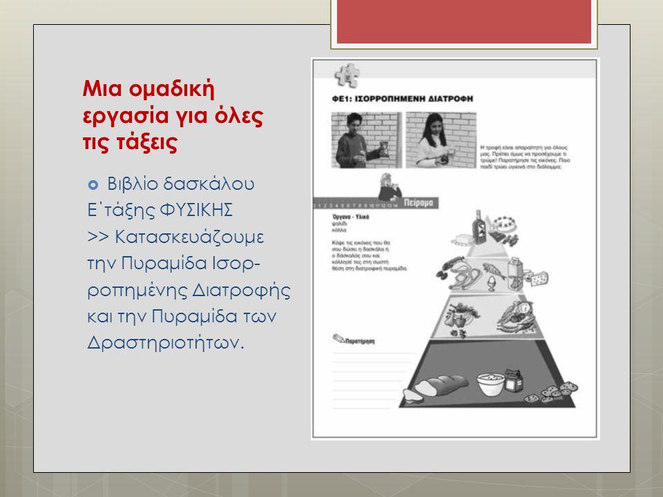 Μια ομαδική εργασία για όλες τις τάξεις  Βιβλίο δασκάλου Ε΄τάξης ΦΥΣΙΚΗΣ >> Κατασκευάζουμε την Πυραμίδα Ισορ- ροπημένης Διατροφής και την Πυραμίδα τω