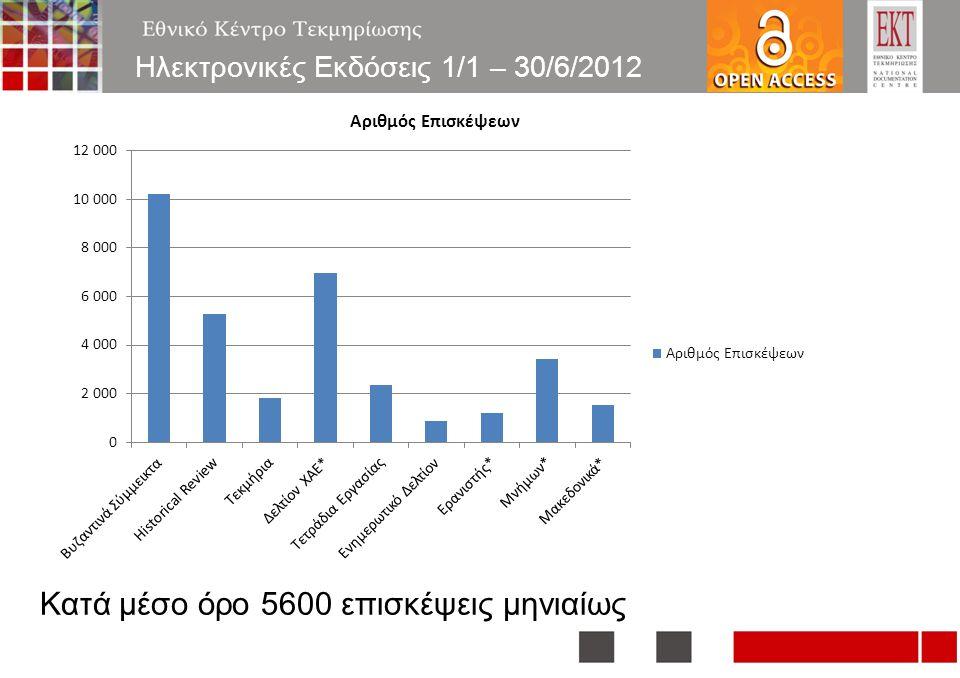 16 Κατά μέσο όρο 5600 επισκέψεις μηνιαίως Ηλεκτρονικές Εκδόσεις 1/1 – 30/6/2012