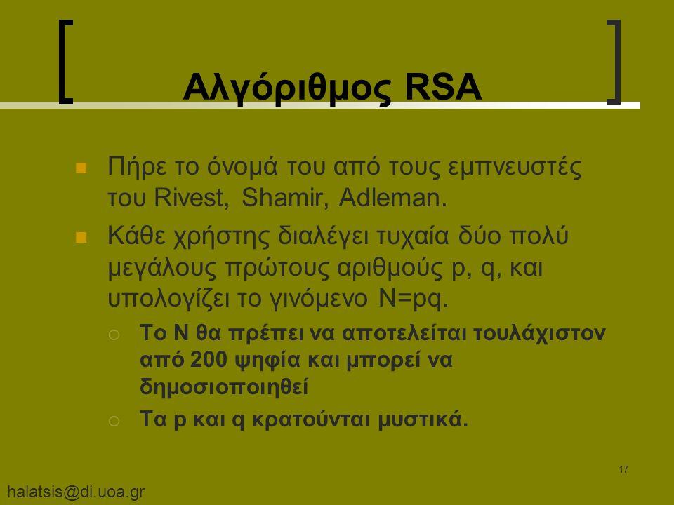 halatsis@di.uoa.gr 17 Αλγόριθμος RSA Πήρε το όνομά του από τους εμπνευστές του Rivest, Shamir, Adleman.