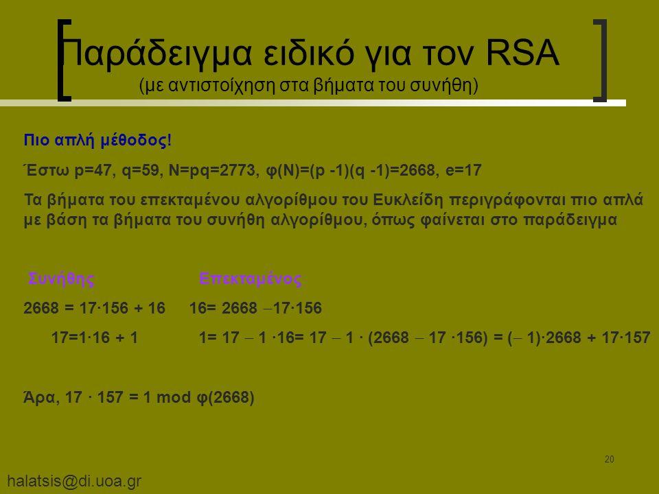 halatsis@di.uoa.gr 20 Παράδειγμα ειδικό για τον RSA (με αντιστοίχηση στα βήματα του συνήθη) Πιο απλή μέθοδος.