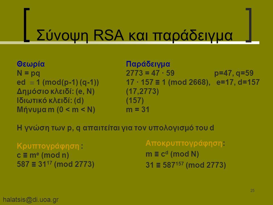 halatsis@di.uoa.gr 25 Σύνοψη RSA και παράδειγμα ΘεωρίαΠαράδειγμα N = pq 2773 = 47 · 59 p=47, q=59 ed  1 (mod(p-1) (q-1))17 · 157 ≡ 1 (mod 2668), e=17, d=157 Δημόσιο κλειδί: (e, Ν)(17,2773) Ιδιωτικό κλειδί: (d)(157) Μήνυμα m (0 < m < N) m = 31 H γνώση των p, q απαιτείται για τον υπολογισμό του d Κρυπτογράφηση : c ≡ m e (mod n) 587 ≡ 31 17 (mod 2773) Αποκρυπτογράφηση: m ≡ c d (mod N) 31 ≡ 587 157 (mod 2773)