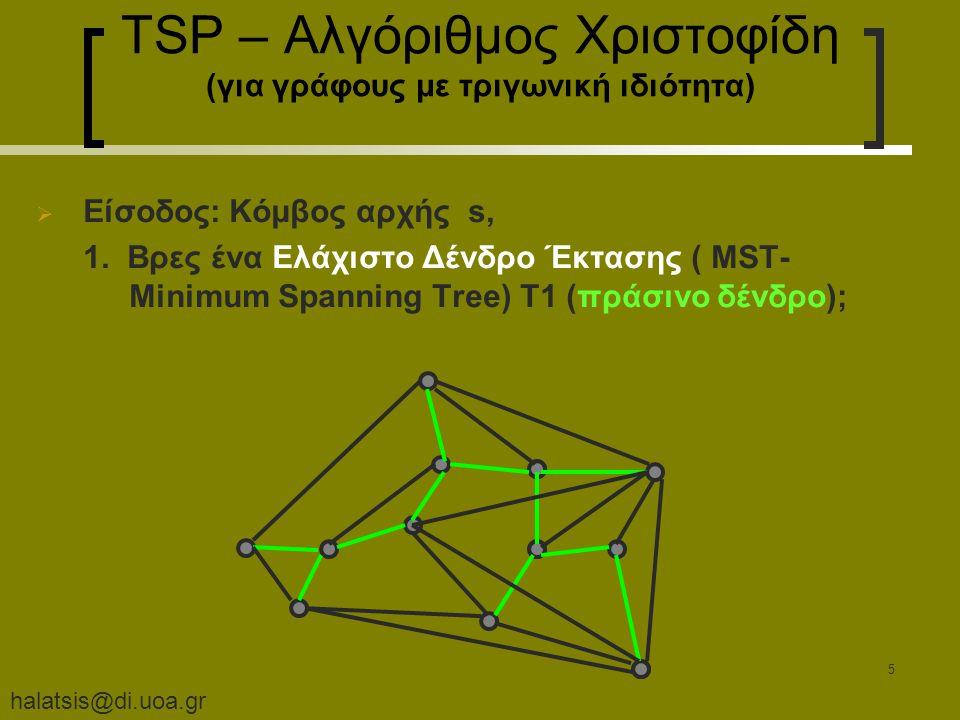halatsis@di.uoa.gr 5 TSP – Αλγόριθμος Χριστοφίδη (για γράφους με τριγωνική ιδιότητα)  Είσοδος: Κόμβος αρχής s, 1.