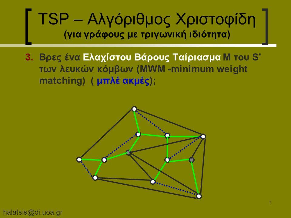 halatsis@di.uoa.gr 7 TSP – Αλγόριθμος Χριστοφίδη (για γράφους με τριγωνική ιδιότητα) 3.Βρες ένα Ελαχίστου Βάρους Ταίριασμα M του S' των λευκών κόμβων (MWM -minimum weight matching) ( μπλέ ακμές);