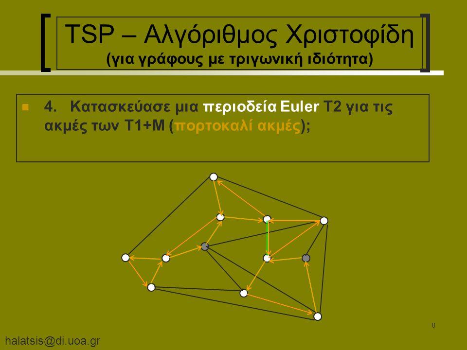 halatsis@di.uoa.gr 8 TSP – Αλγόριθμος Χριστοφίδη (για γράφους με τριγωνική ιδιότητα) 4.