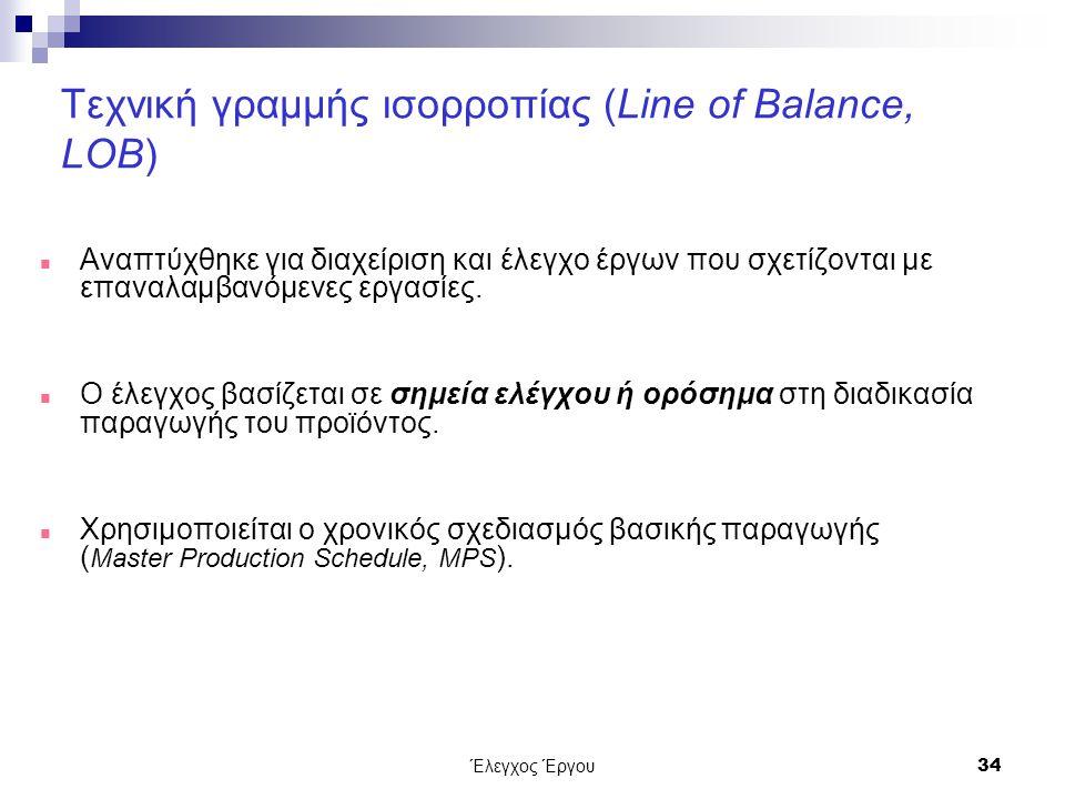 Έλεγχος Έργου34 Τεχνική γραμμής ισορροπίας (Line of Balance, LOB) Αναπτύχθηκε για διαχείριση και έλεγχο έργων που σχετίζονται με επαναλαμβανόμενες εργασίες.