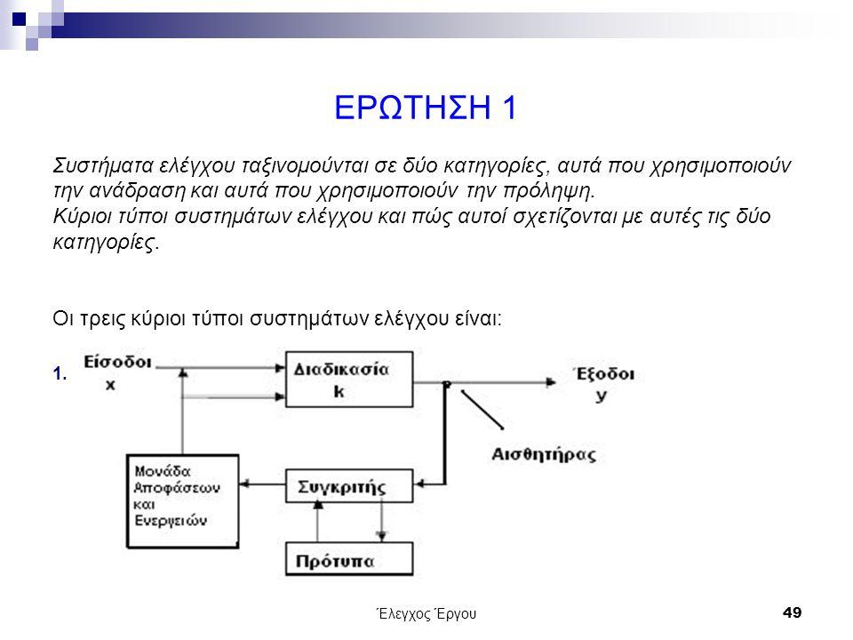 Έλεγχος Έργου49 ΕΡΩΤΗΣΗ 1 Συστήματα ελέγχου ταξινομούνται σε δύο κατηγορίες, αυτά που χρησιμοποιούν την ανάδραση και αυτά που χρησιμοποιούν την πρόληψη.