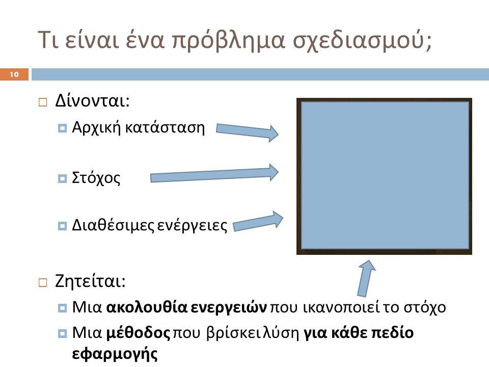 Τι είναι ένα πρόβλημα σχεδιασμού ; 10  Δίνονται :  Αρχική κατάσταση  Στόχος  Διαθέσιμες ενέργειες  Ζητείται :  Μια ακολουθία ενεργειών που ικανοποιεί το στόχο  Μια μέθοδος που βρίσκει λύση για κάθε πεδίο εφαρμογής