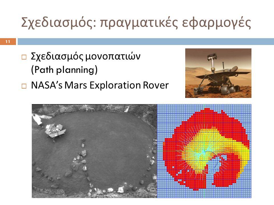 Σχεδιασμός : πραγματικές εφαρμογές 11  Σχεδιασμός μονοπατιών (Path planning)  NASA's Mars Exploration Rover