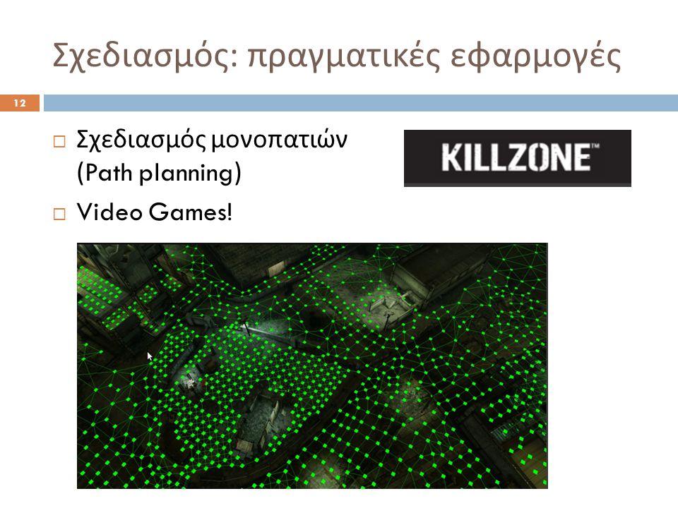 Σχεδιασμός : πραγματικές εφαρμογές 12  Σχεδιασμός μονοπατιών (Path planning)  Video Games!
