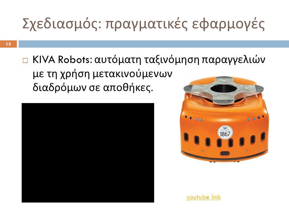 Σχεδιασμός : πραγματικές εφαρμογές 15  KIVA Robots: αυτόματη ταξινόμηση παραγγελιών με τη χρήση μετακινούμενων διαδρόμων σε αποθήκες.