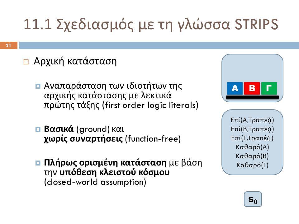 11.1 Σχεδιασμός με τη γλώσσα STRIPS 21  Αρχική κατάσταση  Αναπαράσταση των ιδιοτήτων της αρχικής κατάστασης με λεκτικά πρώτης τάξης (first order logic literals)  Βασικά (ground) και χωρίς συναρτήσεις (function-free)  Πλήρως ορισμένη κατάσταση με βάση την υπόθεση κλειστού κόσμου (closed-world assumption) Α ΒΓ Ε π ί ( Α, Τρα π έζι ) Ε π ί ( Β, Τρα π έζι ) Ε π ί ( Γ, Τρα π έζι ) Καθαρό ( Α ) Καθαρό ( Β ) Καθαρό ( Γ ) s0s0