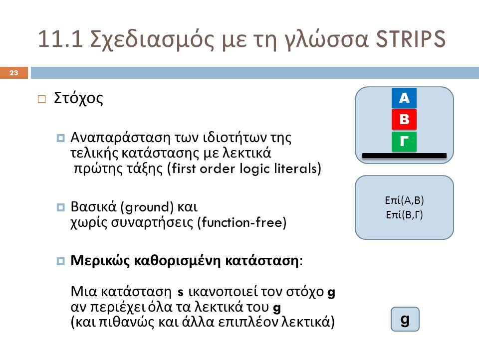 11.1 Σχεδιασμός με τη γλώσσα STRIPS 23  Στόχος  Αναπαράσταση των ιδιοτήτων της τελικής κατάστασης με λεκτικά πρώτης τάξης (first order logic literals)  Βασικά (ground) και χωρίς συναρτήσεις (function-free)  Μερικώς καθορισμένη κατάσταση : Μια κατάσταση s ικανοποιεί τον στόχο g αν περιέχει όλα τα λεκτικά του g ( και πιθανώς και άλλα επιπλέον λεκτικά ) Α Β Γ Επί(Α,Β)Επί(Β,Γ)Επί(Α,Β)Επί(Β,Γ) g