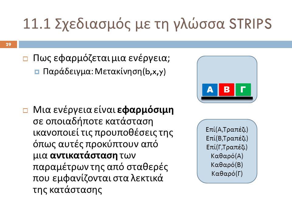 11.1 Σχεδιασμός με τη γλώσσα STRIPS 29  Πως εφαρμόζεται μια ενέργεια ;  Παράδειγμα : Μετακίνηση (b,x,y)  Μια ενέργεια είναι εφαρμόσιμη σε οποιαδήποτε κατάσταση ικανοποιεί τις προυποθέσεις της όπως αυτές προκύπτουν από μια αντικατάσταση των παραμέτρων της από σταθερές που εμφανίζονται στα λεκτικά της κατάστασης Α ΒΓ Ε π ί ( Α, Τρα π έζι ) Ε π ί ( Β, Τρα π έζι ) Ε π ί ( Γ, Τρα π έζι ) Καθαρό ( Α ) Καθαρό ( Β ) Καθαρό ( Γ )