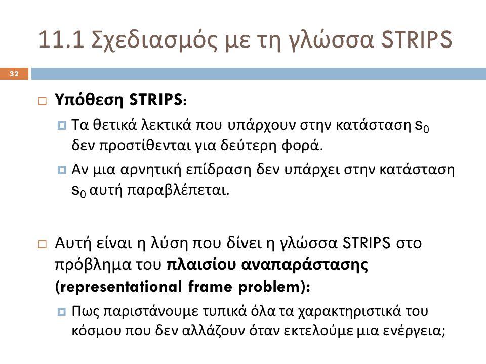 11.1 Σχεδιασμός με τη γλώσσα STRIPS 32  Υπόθεση STRIPS:  Τα θετικά λεκτικά που υπάρχουν στην κατάσταση s 0 δεν προστίθενται για δεύτερη φορά.