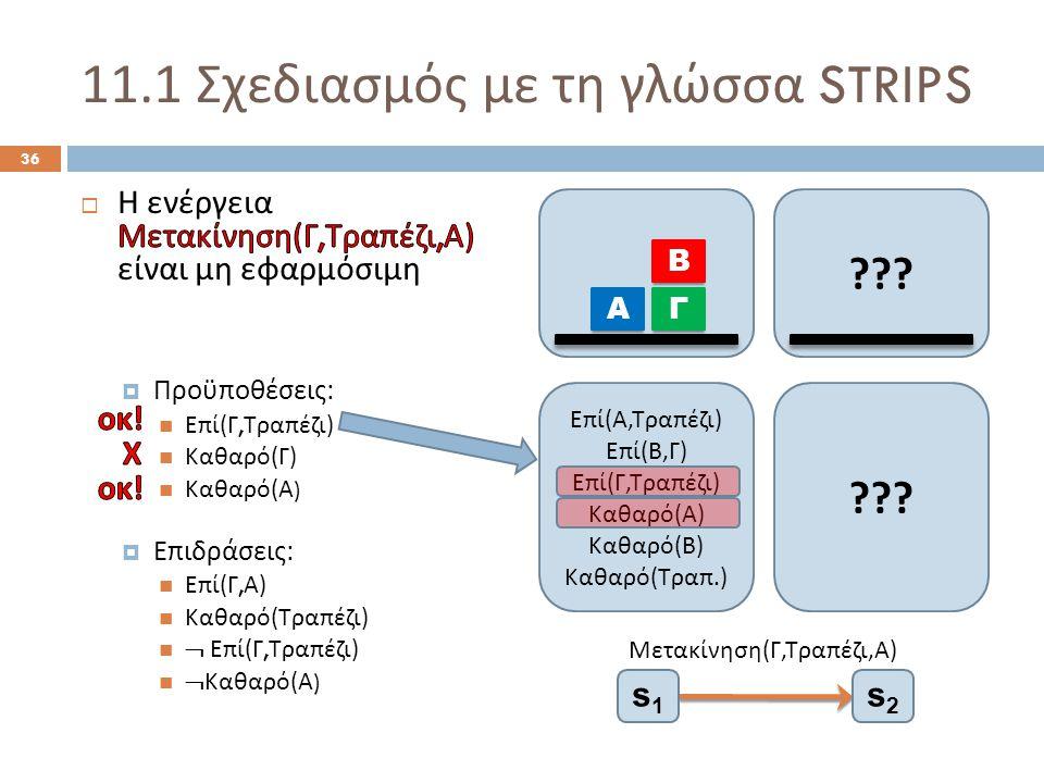 11.1 Σχεδιασμός με τη γλώσσα STRIPS 36 .