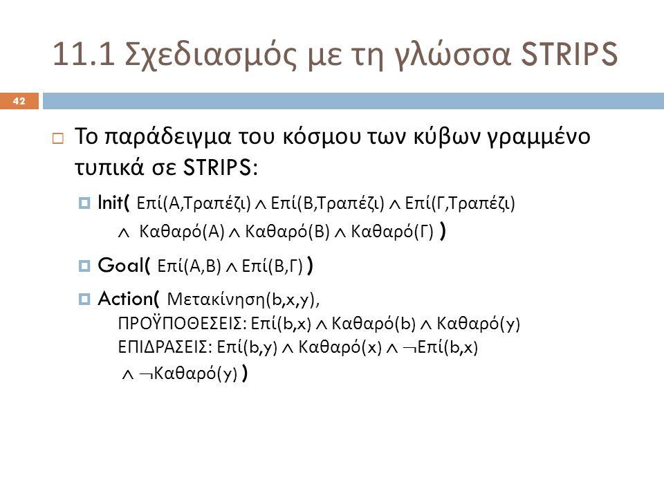 11.1 Σχεδιασμός με τη γλώσσα STRIPS 42  Το παράδειγμα του κόσμου των κύβων γραμμένο τυπικά σε STRIPS:  Init( Επί ( Α, Τραπέζι )  Επί ( Β, Τραπέζι )  Επί ( Γ, Τραπέζι )  Καθαρό ( Α )  Καθαρό ( Β )  Καθαρό ( Γ ) )  Goal( Επί ( Α, Β )  Επί ( Β, Γ ) )  Action( Μετακίνηση (b,x,y), ΠΡΟΫΠΟΘΕΣΕΙΣ : Επί (b,x)  Καθαρό (b)  Καθαρό (y) ΕΠΙΔΡΑΣΕΙΣ : Επί (b,y)  Καθαρό (x)   Επί (b,x)   Καθαρό (y) )