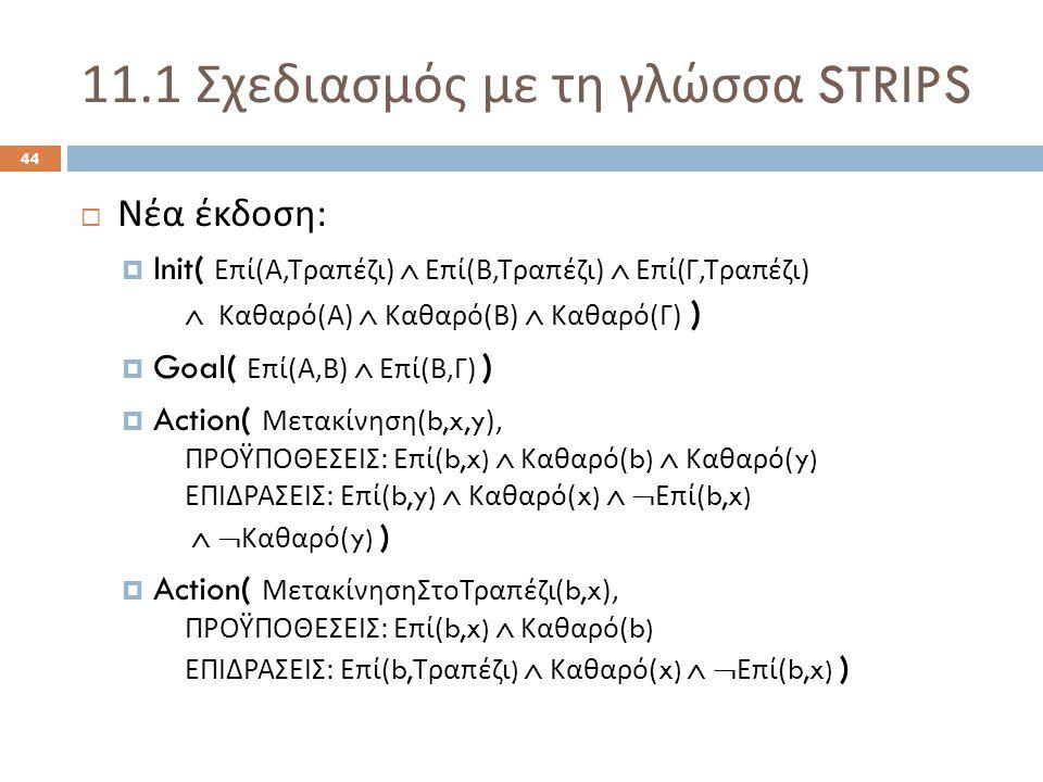 11.1 Σχεδιασμός με τη γλώσσα STRIPS 44  Νέα έκδοση :  Init( Επί ( Α, Τραπέζι )  Επί ( Β, Τραπέζι )  Επί ( Γ, Τραπέζι )  Καθαρό ( Α )  Καθαρό ( Β )  Καθαρό ( Γ ) )  Goal( Επί ( Α, Β )  Επί ( Β, Γ ) )  Action( Μετακίνηση (b,x,y), ΠΡΟΫΠΟΘΕΣΕΙΣ : Επί (b,x)  Καθαρό (b)  Καθαρό (y) ΕΠΙΔΡΑΣΕΙΣ : Επί (b,y)  Καθαρό (x)   Επί (b,x)   Καθαρό (y) )  Action( ΜετακίνησηΣτοΤραπέζι (b,x), ΠΡΟΫΠΟΘΕΣΕΙΣ : Επί (b,x)  Καθαρό (b) ΕΠΙΔΡΑΣΕΙΣ : Επί (b, Τραπέζι )  Καθαρό (x)   Επί (b,x) )