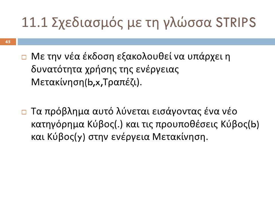 11.1 Σχεδιασμός με τη γλώσσα STRIPS 45  Με την νέα έκδοση εξακολουθεί να υπάρχει η δυνατότητα χρήσης της ενέργειας Μετακίνηση (b,x, Τραπέζι ).