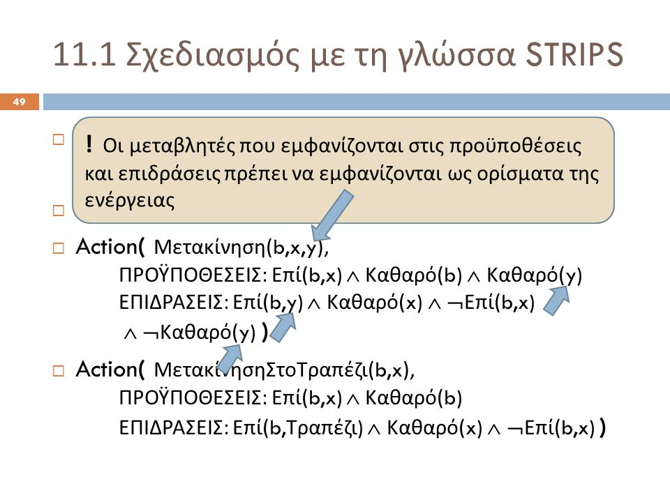 11.1 Σχεδιασμός με τη γλώσσα STRIPS 49  Init( Επί ( Α, Τραπέζι )  Επί ( Β, Τραπέζι )  Επί ( Γ, Τραπέζι )  Καθαρό ( Α )  Καθαρό ( Β )  Καθαρό ( Γ ) )  Goal( Επί ( Α, Β )  Επί ( Β, Γ ) )  Action( Μετακίνηση (b,x,y), ΠΡΟΫΠΟΘΕΣΕΙΣ : Επί (b,x)  Καθαρό (b)  Καθαρό (y) ΕΠΙΔΡΑΣΕΙΣ : Επί (b,y)  Καθαρό (x)   Επί (b,x)   Καθαρό (y) )  Action( ΜετακίνησηΣτοΤραπέζι (b,x), ΠΡΟΫΠΟΘΕΣΕΙΣ : Επί (b,x)  Καθαρό (b) ΕΠΙΔΡΑΣΕΙΣ : Επί (b, Τραπέζι )  Καθαρό (x)   Επί (b,x) ) .