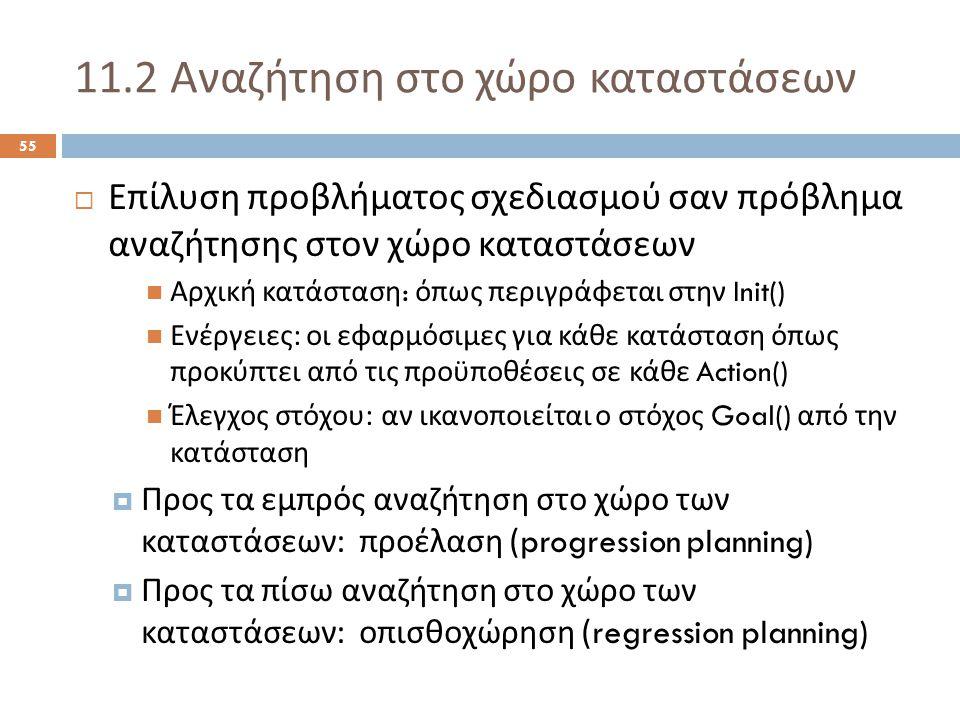 11.2 Αναζήτηση στο χώρο καταστάσεων 55  Επίλυση προβλήματος σχεδιασμού σαν πρόβλημα αναζήτησης στον χώρο καταστάσεων Αρχική κατάσταση : όπως περιγράφεται στην Init() Ενέργειες : οι εφαρμόσιμες για κάθε κατάσταση όπως προκύπτει από τις προϋποθέσεις σε κάθε Action() Έλεγχος στόχου : αν ικανοποιείται ο στόχος Goal() από την κατάσταση  Προς τα εμπρός αναζήτηση στο χώρο των καταστάσεων : προέλαση (progression planning)  Προς τα πίσω αναζήτηση στο χώρο των καταστάσεων : οπισθοχώρηση (regression planning)