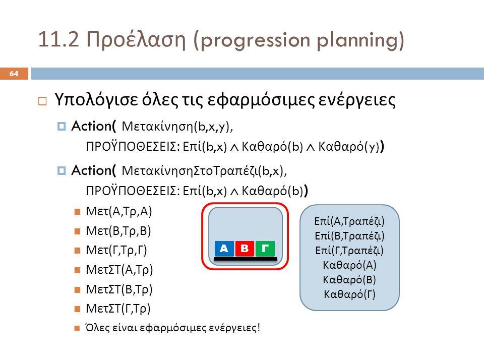 11.2 Προέλαση (progression planning) 64  Υπολόγισε όλες τις εφαρμόσιμες ενέργειες  Action( Μετακίνηση (b,x,y), ΠΡΟΫΠΟΘΕΣΕΙΣ : Επί (b,x)  Καθαρό (b)  Καθαρό (y) )  Action( ΜετακίνησηΣτοΤραπέζι (b,x), ΠΡΟΫΠΟΘΕΣΕΙΣ : Επί (b,x)  Καθαρό (b) ) Μετ ( Α, Τρ, Α ) Μετ ( Β, Τρ, Β ) Μετ ( Γ, Τρ, Γ ) ΜετΣΤ ( Α, Τρ ) ΜετΣΤ ( Β, Τρ ) ΜετΣΤ ( Γ, Τρ ) Όλες είναι εφαρμόσιμες ενέργειες .
