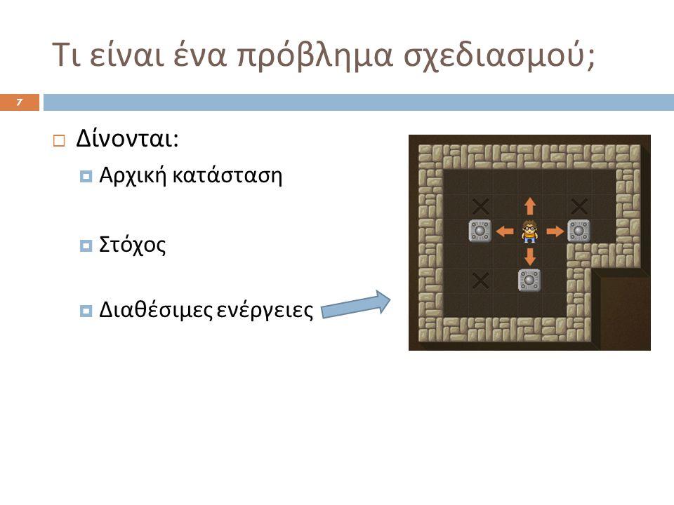 Τι θα δούμε στα επόμενα μαθήματα 18  Ενότητα 11.1: Απλές γλώσσες αναπαράστασης προβλημάτων σχεδιασμού με βάση τη STRIPS  Ενότητα 11.2: Προς τα εμπρός αναζήτηση, προς τα πίσω αναζήτηση, ευρετικοί μηχανισμοί  Ενότητα 11.4: Γραφήματα σχεδιασμού  Ανάπτυξη AI για χαρακτήρες (Non-Player Characters) και εφαρμογές σχεδιασμού σε video games  Άλλες τεχνικές σχεδιασμού επιγραμματικά Σχεδιασμός με λογική, Ιεραρχικά δίκτυα εργασιών, Υπο συνθήκη σχεδιασμός, Εισαγωγή στη γλώσσα ανάπτυξης πρακτόρων Golog,...