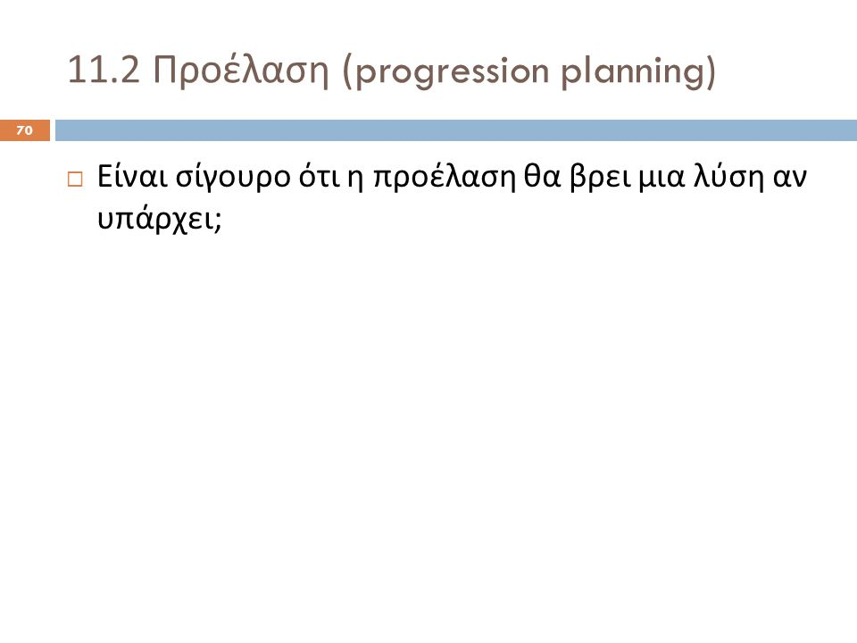 11.2 Προέλαση (progression planning) 70  Είναι σίγουρο ότι η προέλαση θα βρει μια λύση αν υπάρχει ;