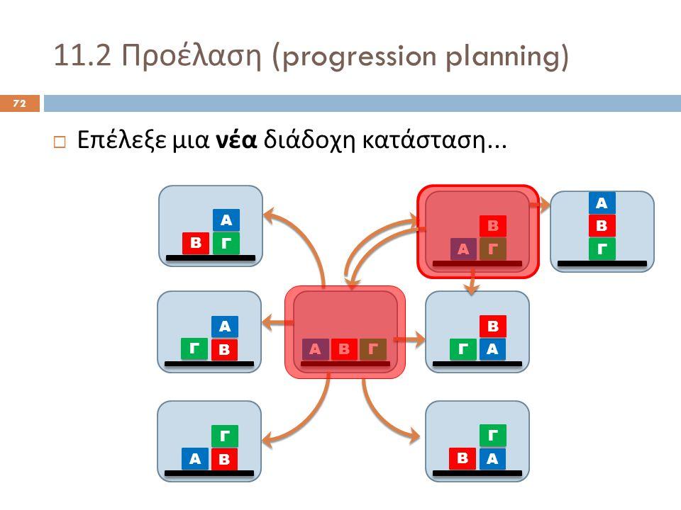 11.2 Προέλαση (progression planning) 72  Επέλεξε μια νέα διάδοχη κατάσταση...