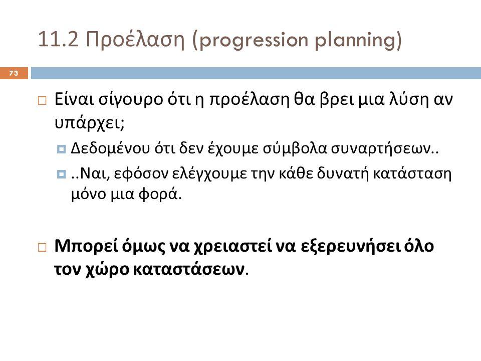 11.2 Προέλαση (progression planning) 73  Είναι σίγουρο ότι η προέλαση θα βρει μια λύση αν υπάρχει ;  Δεδομένου ότι δεν έχουμε σύμβολα συναρτήσεων..