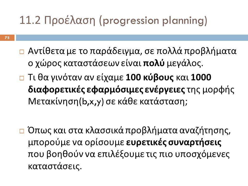 11.2 Προέλαση (progression planning) 75  Αντίθετα με το παράδειγμα, σε πολλά προβλήματα ο χώρος καταστάσεων είναι πολύ μεγάλος.