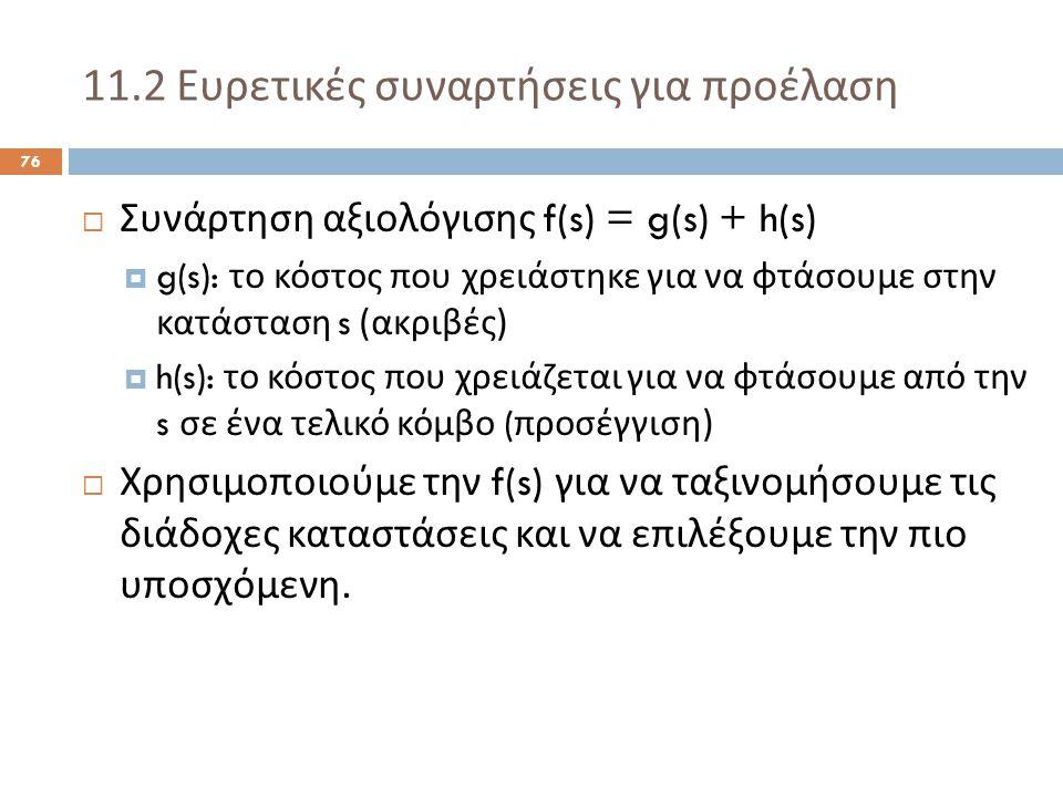 11.2 Ευρετικές συναρτήσεις για προέλαση 76  Συνάρτηση αξιολόγισης f(s) = g(s) + h(s)  g(s): το κόστος που χρειάστηκε για να φτάσουμε στην κατάσταση s ( ακριβές )  h(s): το κόστος που χρειάζεται για να φτάσουμε από την s σε ένα τελικό κόμβο ( προσέγγιση )  Χρησιμοποιούμε την f(s) για να ταξινομήσουμε τις διάδοχες καταστάσεις και να επιλέξουμε την πιο υποσχόμενη.