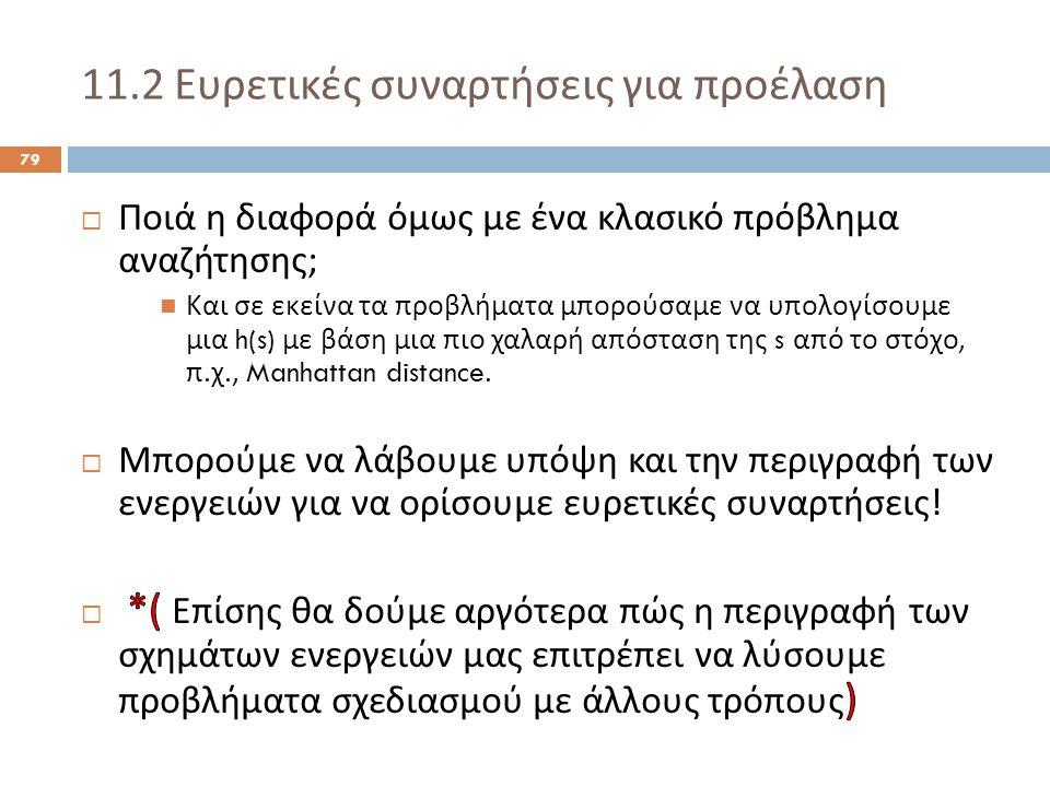 11.2 Ευρετικές συναρτήσεις για προέλαση 79