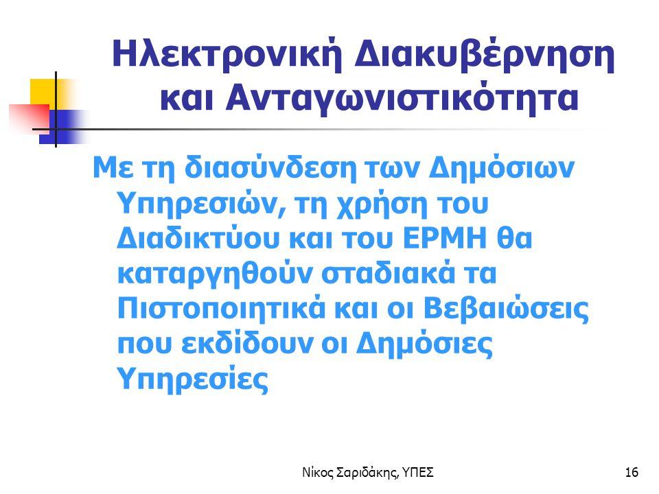 Νίκος Σαριδάκης, ΥΠΕΣ16 Ηλεκτρονική Διακυβέρνηση και Ανταγωνιστικότητα Με τη διασύνδεση των Δημόσιων Υπηρεσιών, τη χρήση του Διαδικτύου και του ΕΡΜΗ θα καταργηθούν σταδιακά τα Πιστοποιητικά και οι Βεβαιώσεις που εκδίδουν οι Δημόσιες Υπηρεσίες