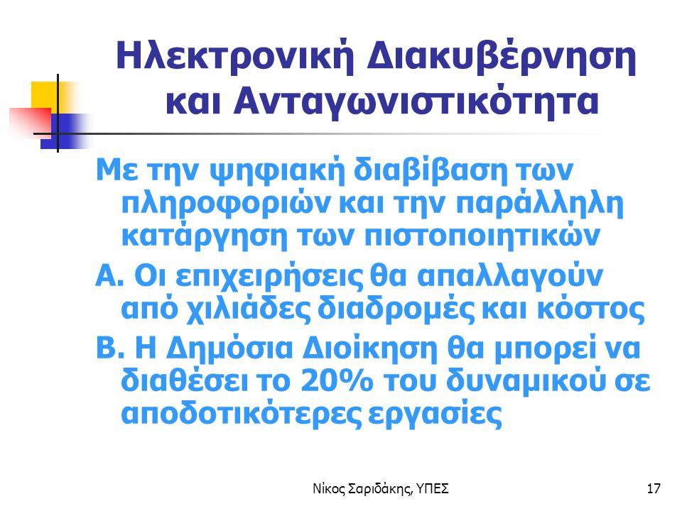 Νίκος Σαριδάκης, ΥΠΕΣ17 Ηλεκτρονική Διακυβέρνηση και Ανταγωνιστικότητα Με την ψηφιακή διαβίβαση των πληροφοριών και την παράλληλη κατάργηση των πιστοποιητικών Α.