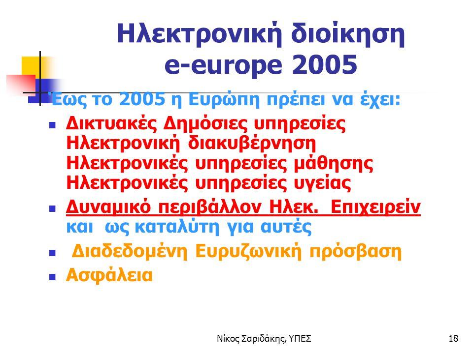 Νίκος Σαριδάκης, ΥΠΕΣ18 Ηλεκτρονική διοίκηση e-europe 2005 Έως το 2005 η Ευρώπη πρέπει να έχει: Δικτυακές Δημόσιες υπηρεσίες Ηλεκτρονική διακυβέρνηση Ηλεκτρονικές υπηρεσίες μάθησης Ηλεκτρονικές υπηρεσίες υγείας Δυναμικό περιβάλλον Ηλεκ.