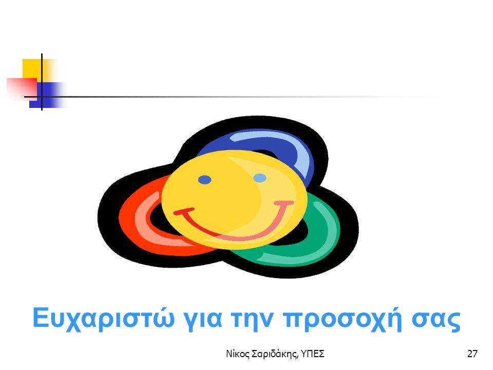 Νίκος Σαριδάκης, ΥΠΕΣ27 Ευχαριστώ για την προσοχή σας