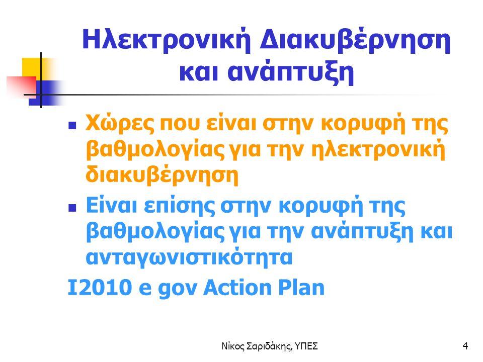 Νίκος Σαριδάκης, ΥΠΕΣ4 Ηλεκτρονική Διακυβέρνηση και ανάπτυξη Χώρες που είναι στην κορυφή της βαθμολογίας για την ηλεκτρονική διακυβέρνηση Είναι επίσης στην κορυφή της βαθμολογίας για την ανάπτυξη και ανταγωνιστικότητα I2010 e gov Action Plan