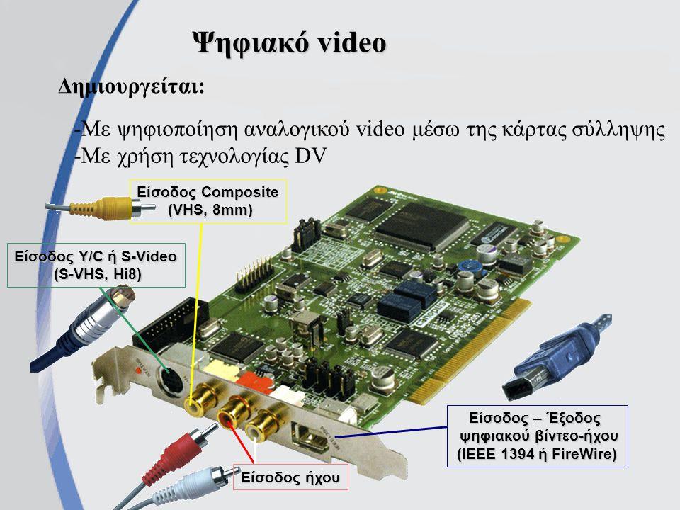 Ψηφιακό video Δημιουργείται: -Με ψηφιοποίηση αναλογικού video μέσω της κάρτας σύλληψης -Με χρήση τεχνολογίας DV Είσοδος Y/C ή S-Video (S-VHS, Hi8) (S-VHS, Hi8) Είσοδος Composite (VHS, 8mm) Είσοδος ήχου Είσοδος – Έξοδος ψηφιακού βίντεο-ήχου (IEEE 1394 ή FireWire)