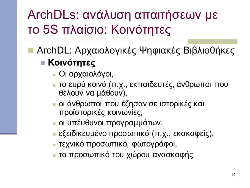 10 ArchDLs: ανάλυση απαιτήσεων με το 5S πλαίσιο: Κοινότητες ArchDL: Αρχαιολογικές Ψηφιακές Βιβλιοθήκες Κοινότητες Οι αρχαιολόγοι, το ευρύ κοινό (π.χ., εκπαιδευτές, άνθρωποι που θέλουν να μάθουν), οι άνθρωποι που έζησαν σε ιστορικές και προϊστορικές κοινωνίες, οι υπέυθυνοι προγραμμάτων, εξειδικευμένο προσωπικό (π.χ., εκσκαφείς), τεχνικό προσωπικό, φωτογράφοι, το προσωπικό του χώρου ανασκαφής