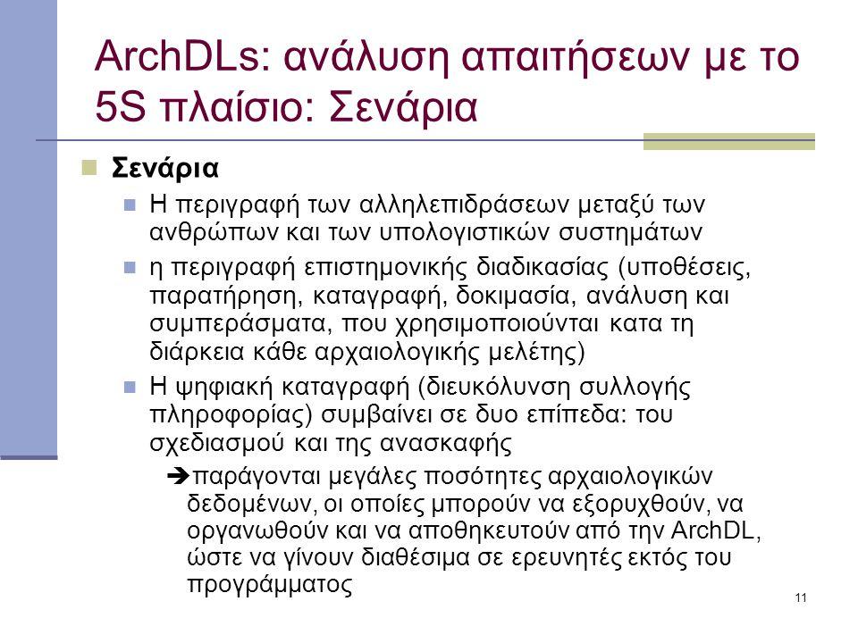 11 ArchDLs: ανάλυση απαιτήσεων με το 5S πλαίσιο: Σενάρια Σενάρια Η περιγραφή των αλληλεπιδράσεων μεταξύ των ανθρώπων και των υπολογιστικών συστημάτων η περιγραφή επιστημονικής διαδικασίας (υποθέσεις, παρατήρηση, καταγραφή, δοκιμασία, ανάλυση και συμπεράσματα, που χρησιμοποιούνται κατα τη διάρκεια κάθε αρχαιολογικής μελέτης) Η ψηφιακή καταγραφή (διευκόλυνση συλλογής πληροφορίας) συμβαίνει σε δυο επίπεδα: του σχεδιασμού και της ανασκαφής  παράγονται μεγάλες ποσότητες αρχαιολογικών δεδομένων, οι οποίες μπορούν να εξορυχθούν, να οργανωθούν και να αποθηκευτούν από την ArchDL, ώστε να γίνουν διαθέσιμα σε ερευνητές εκτός του προγράμματος